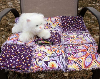 Cat Bed, Cat Blanket, Cat Quilt, Cat Travel Blanket, Purple Cat Blanket, Cat Bed With Toy, Handmade Cat Bed, Colorado Catnip Bed, Catnip Mat