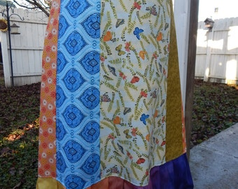 Butterflies A-line Skirt Hippie Patchwork Skirt Spinner skirt Festival skirt, hippie clothes, OOAK Skirt, boho chic
