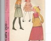 McCall's Girls' Dress Pattern 2920