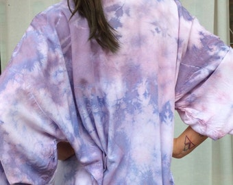 Hand Dyed Kimono Robe in Orchid , Purple Blue and White Tie Dyed Rayon Bathrobe, Anna Joyce, Portland, OR.