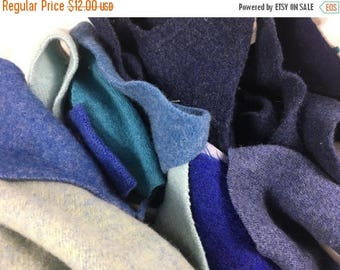 40% OFF- Felted Wool Scraps-Blue Moon