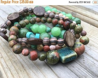 40% OFF- Beaded Stack Bracelets-Glass and Wood-Cuff Accessories-Boho Style-Marine Life