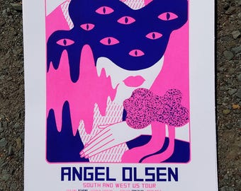 Angel Olsen 2017 silk screened South and West Tour poster!