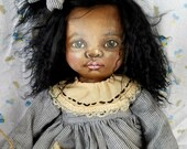 """One of a kind 17"""" oil painted cloth art doll"""