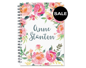 2017 personalized planner, 12 month weekly calendar, personal agenda planner, weekly planner calendar, desk diary, floral SKU: ply pwf2