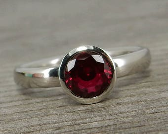 Ruby Ring - Chatham Lab Created Ruby and Recycled 950 Palladium Engagement / Wedding Ring, Diamond Alternative, Red Gemstone - Made to Order