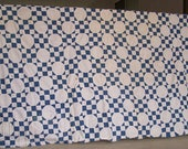 "Vintage Quilt Top, Cutter Quilt Top, Primitive Quilt Top, Indigo Blue, Red White Polkadots, Rustic Vintage Red Pindots, 80"" x 90"" - AS IS"