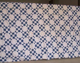 """Vintage Quilt Top, Cutter Quilt Top, Primitive Quilt Top, Indigo Blue, Red White Polkadots, Rustic Vintage Red Pindots, 80"""" x 90"""" - AS IS"""