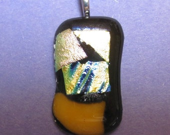 Yellow, Gold and Blue Dichroic on Black Glass Pendant