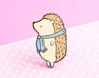 Hedgehog Enamel Pin, cute enamel pin hat badge animal