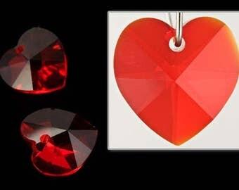 10.3mm x 10mm Swarovski 6202 Light Siam Heart Drop