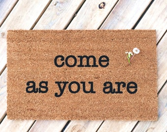 Come as you are. Natural CoCo Coir Fiber Modern Tagged Outdoor Welcome Mat Custom doormat