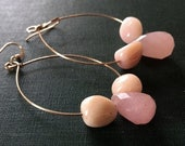 Statement Earrings, Pink Hoop Earrings, Gold-filled earrings, Oval Hoop Earrings, Pink Opal Earrings, Boho Earrings, Gemstone Hoop Earrings