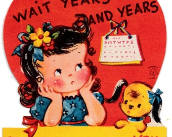 Vintage Little Girl and Puppy Valentine's Day Greetings Card (B17)