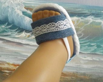 """Doll Sandals for 18"""" Doll and 13-14"""" Doll and 14.5"""" Doll (You Select Size) Denim Blue With White Vintage Lace Accents"""
