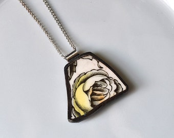 Broken China Jewelry Pendant - Yellow Rose