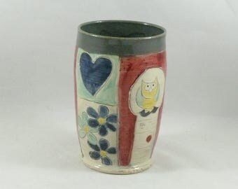 Pottery Tumbler, Toothbrush Holder, Wine Cup, Tumbler, Art Vessel, Vase, Teacup - Coffee Cup  729