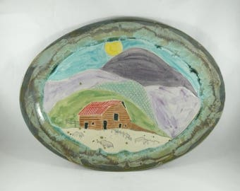 Oval Ceramic Platter with Barn and Mountains, Large Serving Plate, Ceramics and Pottery, 9th Anniversary Gift, Kitchen dinnerware