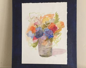 watercolor flower painting 8x10 original painting navy blue indigo blue