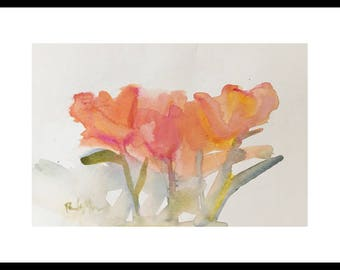 watercolor flower painting tulip painting 6x8 original painting pink orange yellow green watercolor