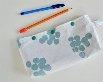 Pencil Pouch - Snap Pouch - Pencil Case - White Blue Pouch - Purse Organizer - Aqua Snap Pouch - Make up Bag