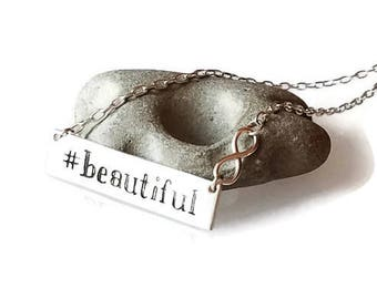 """Hashtag """"Beautiful"""" Bar Infinity Sterling Silver Necklace, Instagram, hashtag, personalized horizontal tag necklace, romanza jewelry"""