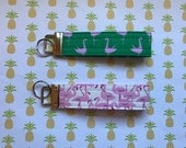 Fabric Key Fobs - Fabric Key Chain - Pink Flamingo Key Fob - Customer Appreciation Card Holder - Key Fob Wristlet - New Driver Gift Idea