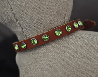 Brown Leather Cat Collar with Round Green Crystal Rivets (The Aimee)