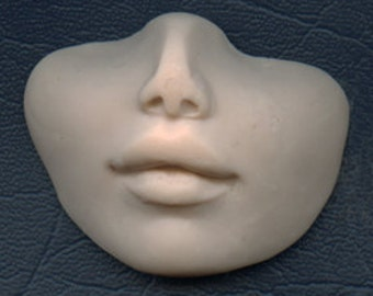 "Polymer Clay  Faux  Fleshtone Nose and lips face Shard FLSH 7      1 5/8"" x 2 1/8"""