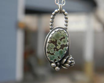 Hidden Beauty - Silver Succulent and Hubei Turquoise Necklace - sterling silver - oxidized and rustic  Secret Message