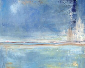 Abstract Oil Painting ORIGINAL Ambient Artwork Large Blue 36x30  by BenWill