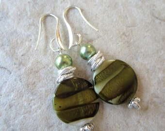 40% SALE Green Striped  Mother of Pearl Earrings  Silver or Gold