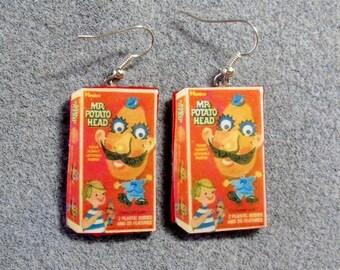 Mr. Potato Head Retro 1969 Game Box Kitsch Dangle Polymer Clay Earrings Hypo Allergenic Nickle-Free