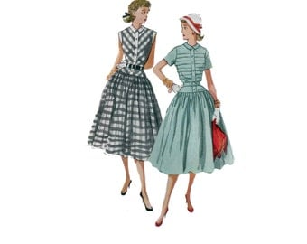 50s Full Skirt Dress pattern vintage 34-28-37  Fit and Flare dress pattern One Piece Dress pattern simplicity 4210