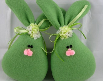 Fleece Bunny Easter and Spring Decoration, Stuffed Bunny, Easter Bunny, Set of 2 Spring Bunnies in Green Fleece