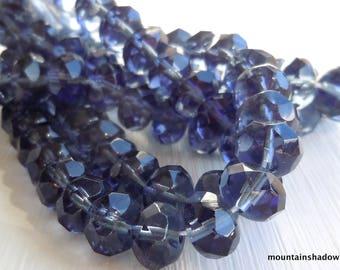 Czech Glass Beads Czech Rondelle Beads 9mm Montana Blue- 12 pcs (GG1 - 2)