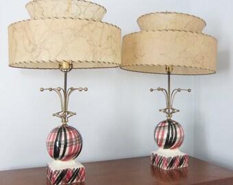 Mid Century Lamps Ceramic Fiberglass Drum Shade 2 Tier Pink Black Metal Atomic Table Lamps Pair