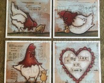 New!  STUDIO DUDA ART mini print set So Loved Chickens on velvety bright paper - 5.25 x 5.25 print