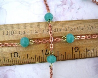 2 feet vintage glass green bead copper coated chain from Japan MIJ - f5339