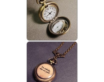 """I'm Nobody Who Are You Watch Necklace - Poem Quote - Brass Pocket Watch Necklace - 1.75"""" round - Real working watch - SMALL"""