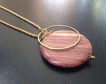 Wood Jasper Triangle Geometric Necklace - Gemstone Brass Long pendant necklace - cut-out chevron pendant - Mothers Day under 50