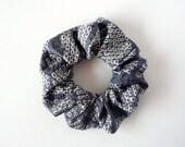 Light Blue Shibori Silk Scrunchie, Hair Accessories, Japanese Vintage Kimono Hair Tie