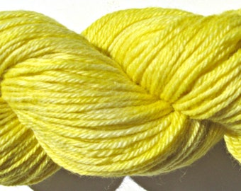 Yellow Hand dyed Baby Alpaca Yarn, Sport Weight, 3 ply, FREE Shipping
