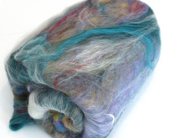 Carded Batt Fine Merino Wool Silk Angelina 100g OOAK7