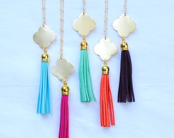 Gold Clover Tassel Necklaces