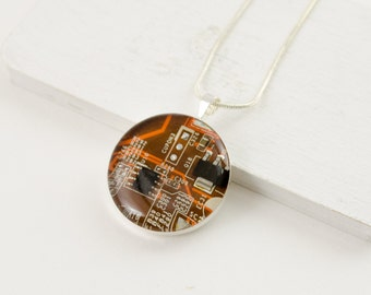 Circuit Board Necklace Orange - Recycled Circuit Board Jewelry - Nerdy Computer Necklace - Stocking Stuffer