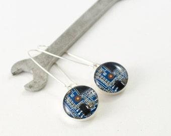 Blue Recycled Circuit Board Earrings, Sterling Silver Dangle Earrings, Nerdy Earrings, Circuit Board Jewelry, Computer Science, We Do Geek