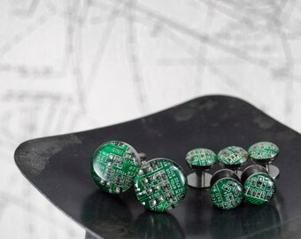 Circuit Board Cufflinks & Tuxedo Studs, Circuit Board Jewelry, Shirt Stud, Wearable Technology, Tech Gift, Gift for Him, Wedding Gift