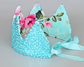 Dress Up Crown - Floral Crown - Sequin Crown - Birthday Crown - Aqua and Pink Roses Crown Reverse to Aqua Sequins - Fits all