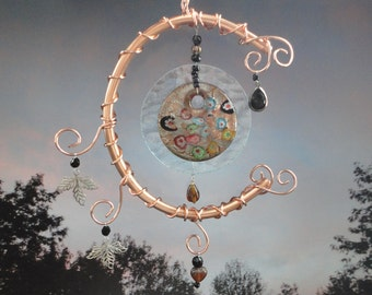 Stained Glass and Copper Sculpture, Mobile, Wall Decor, Home Decor, Garden Decor, Mobile, Window Hanging, Celestial, Garden Art, Moon Flower